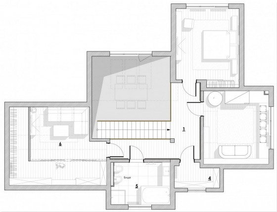 Plano del segundo piso de casa moderna