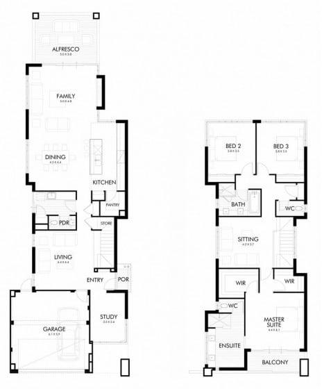 Planos y fachada de moderna casa de dos plantas - Planos casas dos plantas ...