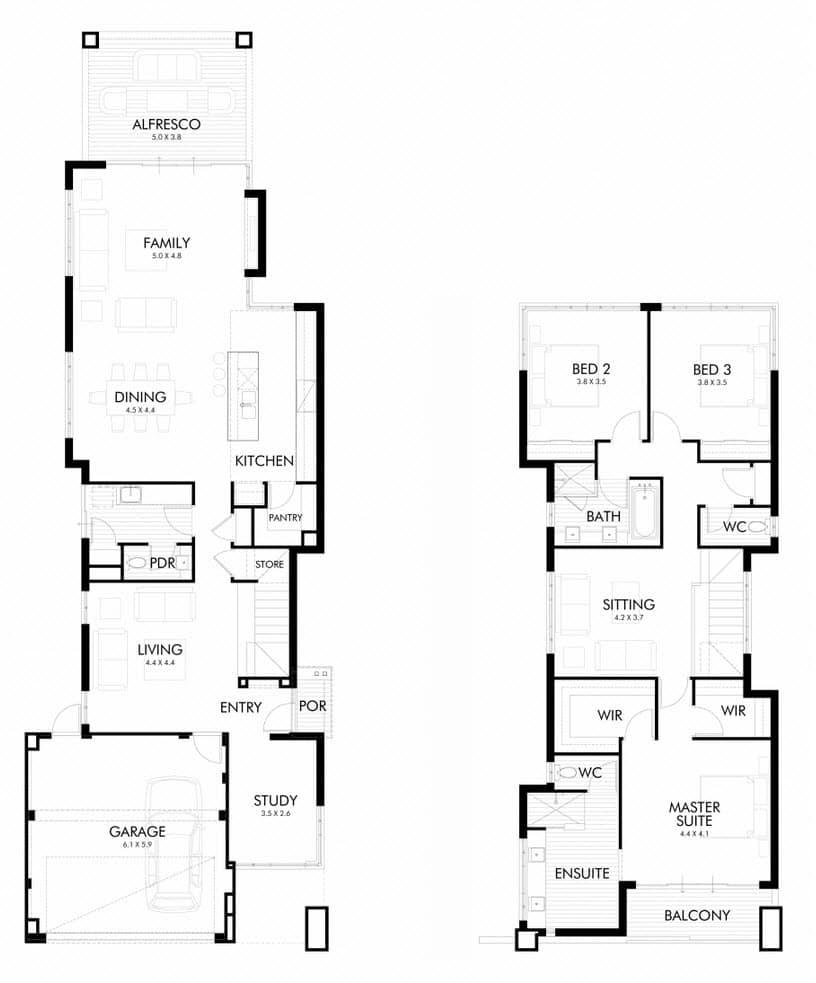 Planos Y Fachada De Moderna Casa De Dos Plantas