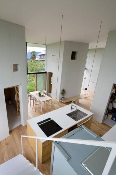 Vista del comedor y cocina desde el mezzanine