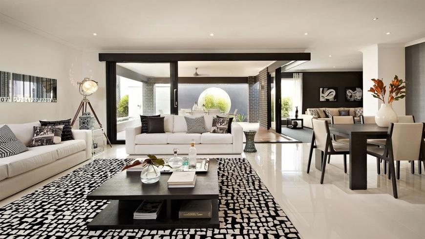 Dise o de casa de una planta con planos y fachadas for Disenos de salas y comedores modernos