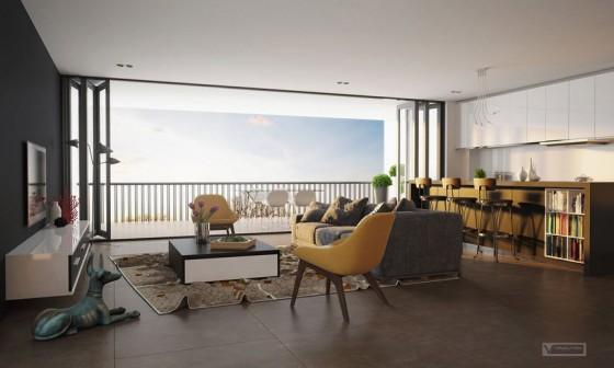 Diseño de apartamento con ventana grande