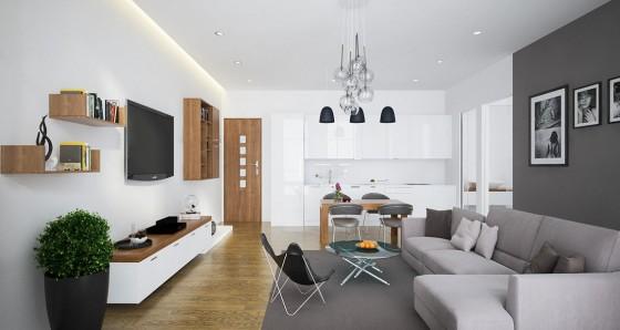 Diseño de sala y cocina de mini departamento